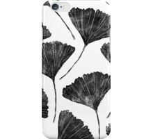 Ginkgo biloba, Lino cut nature inspired leaf pattern iPhone Case/Skin