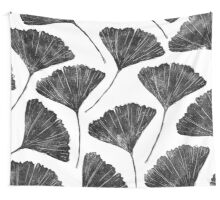 Ginkgo biloba, Lino cut nature inspired leaf pattern Wall Tapestry