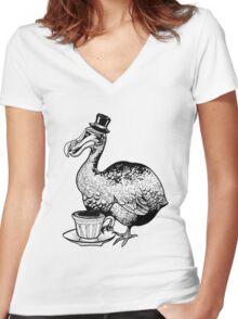 Teatime for Sir Dodo Women's Fitted V-Neck T-Shirt