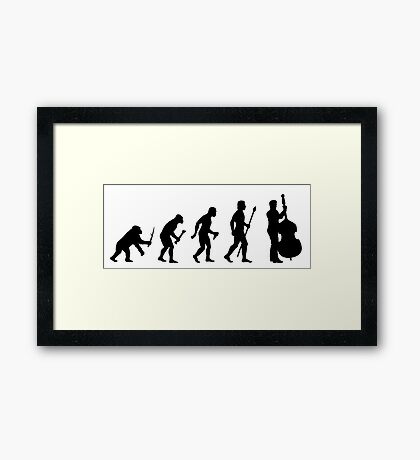 Double Bass Evolution Silhouette Framed Print