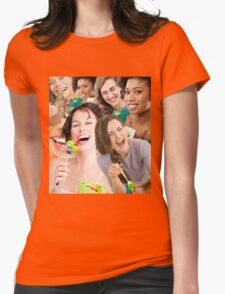 women laughing at salad Womens Fitted T-Shirt