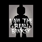 "Black Minifig with ""I am the Real Banksy"" slogan [Large] by Customize My Minifig by ChilleeW"