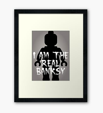 "Black Minifig with ""I am the Real Banksy"" slogan [Large] by Customize My Minifig Framed Print"