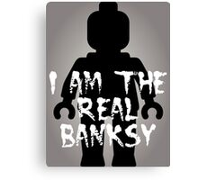 "Black Minifig with ""I am the Real Banksy"" slogan [Large] by Customize My Minifig Canvas Print"