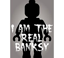 "Black Minifig with ""I am the Real Banksy"" slogan [Large] by Customize My Minifig Photographic Print"