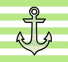 Naval Anchor and Stripes - Black Green White by sitnica