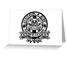 Hot Rod-Skull, Roses, Pistons and Spades Greeting Card