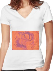 Abstract colorful watercolor illustration with paint strokes and swirls. Women's Fitted V-Neck T-Shirt