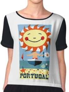 Vintage 1959 Portugal Seaside Travel Poster Chiffon Top