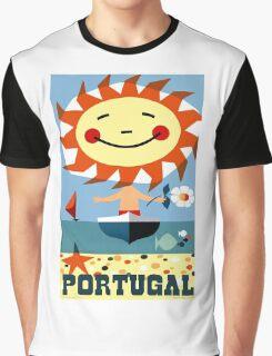 Vintage 1959 Portugal Seaside Travel Poster Graphic T-Shirt