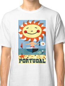 Vintage 1959 Portugal Seaside Travel Poster Classic T-Shirt