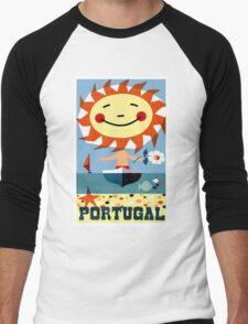 Vintage 1959 Portugal Seaside Travel Poster Men's Baseball ¾ T-Shirt