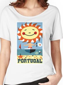 Vintage 1959 Portugal Seaside Travel Poster Women's Relaxed Fit T-Shirt