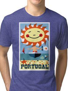Vintage 1959 Portugal Seaside Travel Poster Tri-blend T-Shirt