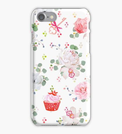 Fresh pastries, bouquets of flowers, keys with red bows and rainbow round blob confetti seamless vector print iPhone Case/Skin