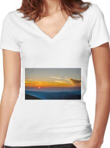 Beautiful Sunset Over Rila Mountain Women's Fitted V-Neck T-Shirt