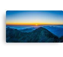 Beautiful Sunrise Over Rila Mountain Canvas Print