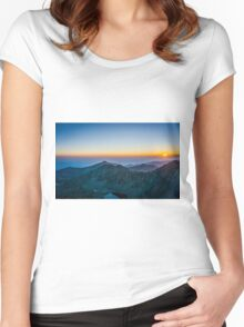 Sunrise Over Rila Mountain Women's Fitted Scoop T-Shirt