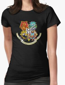 Harry Potter Stained Glass Houses Womens Fitted T-Shirt