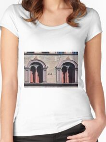 Building facade with two windows with arcades from Bologna. Women's Fitted Scoop T-Shirt