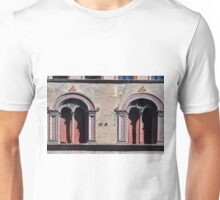 Building facade with two windows with arcades from Bologna. Unisex T-Shirt