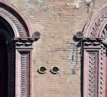Building facade with two windows with arcades from Bologna. Sticker