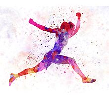Woman runner running jumping shouting Photographic Print