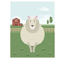 Sheep in a meadow Photographic Print