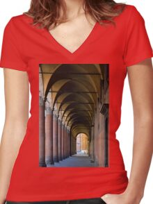 Portico in Bologna with columns and arched pathway. Women's Fitted V-Neck T-Shirt