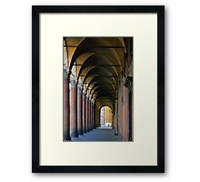 Portico in Bologna with columns and arched pathway. Framed Print
