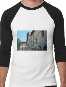 Stone facade buildings on the street in Assisi Men's Baseball ¾ T-Shirt