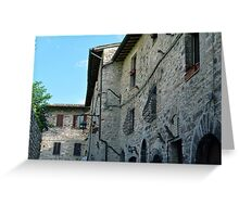 Stone facade buildings on the street in Assisi Greeting Card