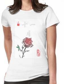 Inked Petals of a Year November Womens Fitted T-Shirt