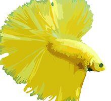 Betta Pillow - Yellow by DougPop