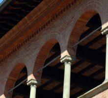 Simple brick facade from Siena with columns and arches. Sticker