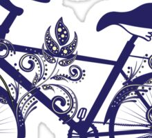 Bicycle and Floral Ornament 4 Sticker