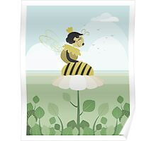 Queen bee resting on a flower Poster
