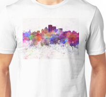 Rochester NY skyline in watercolor background Unisex T-Shirt