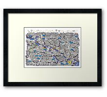 Illustrated map of Berlin-Mitte. Blue Framed Print