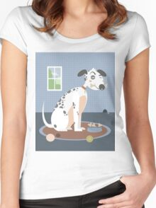 Dog with a bone in his mouth Women's Fitted Scoop T-Shirt