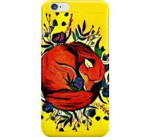 Sleeping Fox and Flowers iPhone Case/Skin