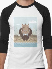 hippo on the banks of a river Men's Baseball ¾ T-Shirt