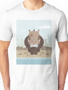 hippo on the banks of a river Unisex T-Shirt
