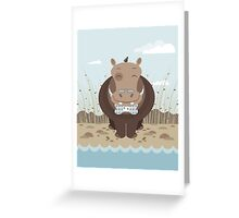 hippo on the banks of a river Greeting Card