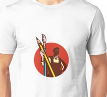 Artist Painter Holding Pencil Paintbrush Circle Retro Unisex T-Shirt