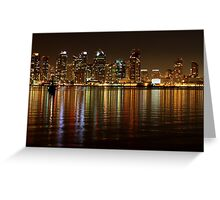 San Diego Skyline Night Greeting Card