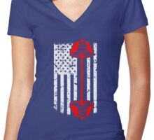 Weight Training American Flag Women's Fitted V-Neck T-Shirt