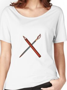 Crossed Pencil Artist Brush Retro Women's Relaxed Fit T-Shirt