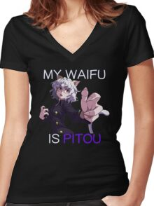 My Waifu Is Pitou Anime Manga Shirt Women's Fitted V-Neck T-Shirt