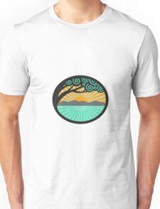 Monkeypod Tree Mountain Sea Sunrise Oval Retro Unisex T-Shirt